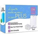 Dekor Plus Diaper Pail Refills Up to 1740 Diapers by Lupantte, 100% Compatible for Dekor Plus Size Diaper Pails, No…