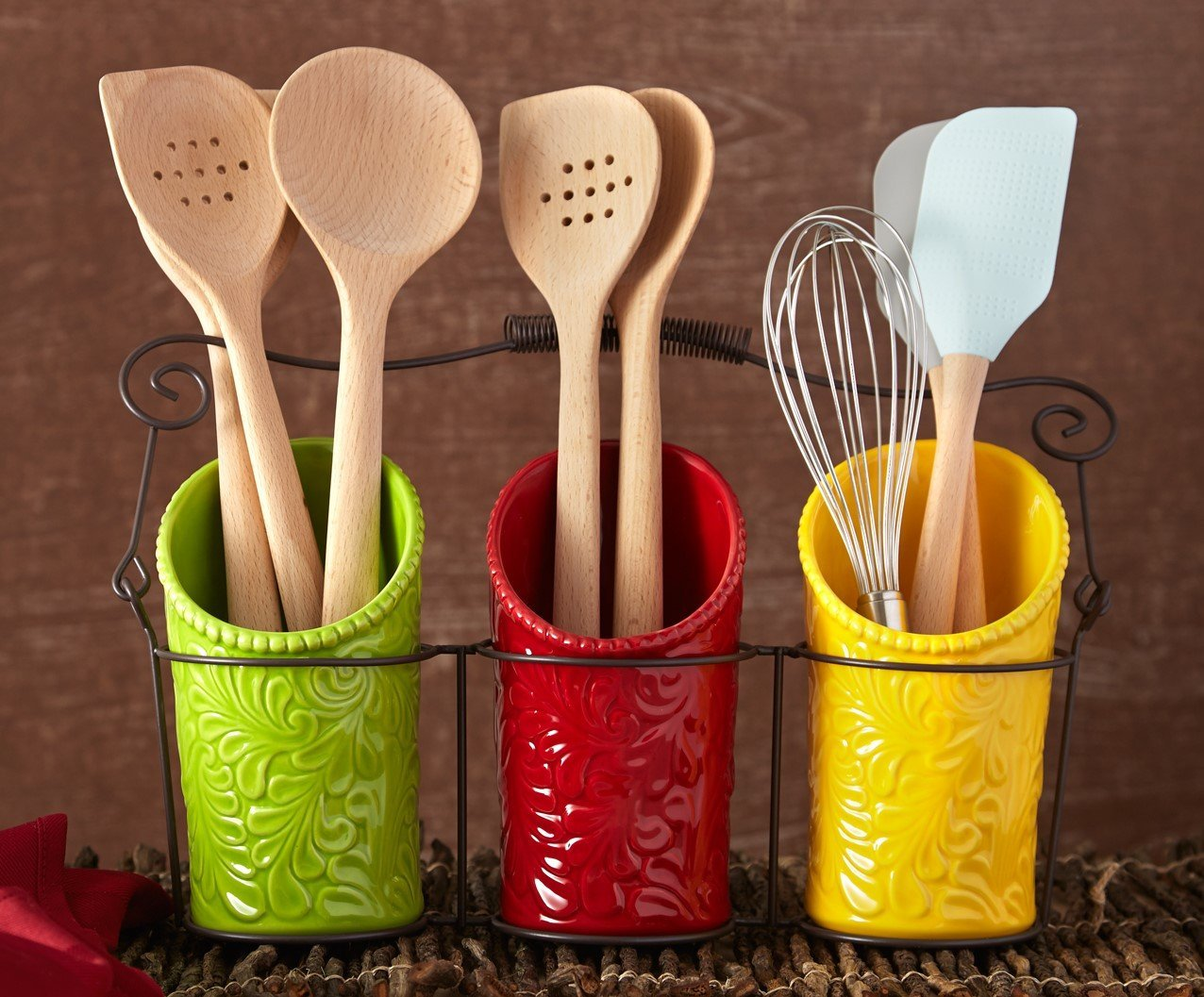 Amazon.com: Kitchen Utensil Holder Set (4 Pieces)   3 Ceramic Crocks U0026 1  Portable Wire Caddy   Multi Color: Kitchen U0026 Dining