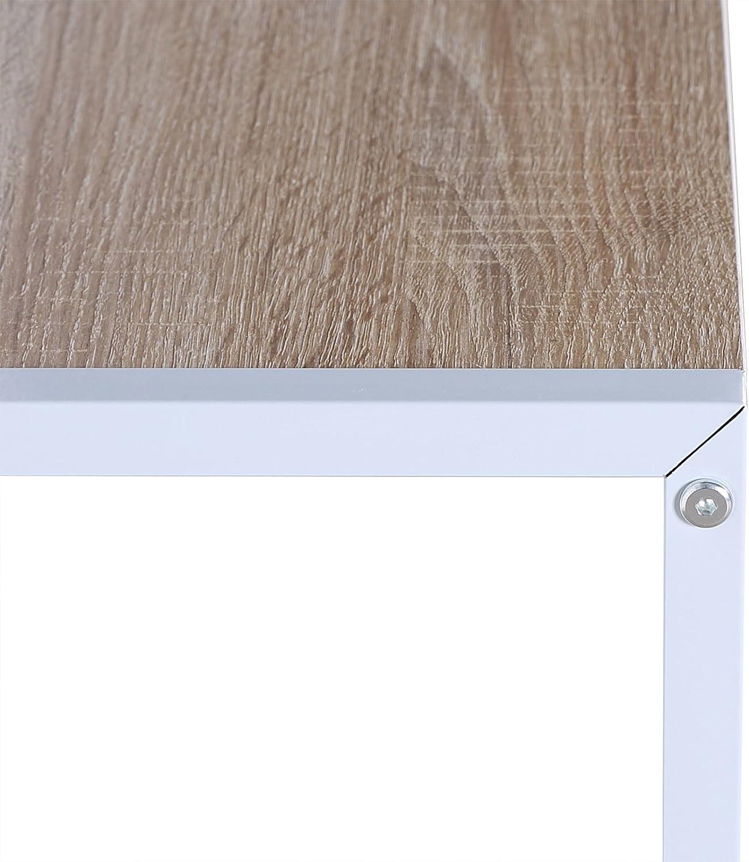 Hell Eiche+Wei/ß 120x60x140 cm mit Ablage WOLTU TSB09hei Schreibtisch Computertisch B/ürom/öbel PC Tisch B/ürotisch Arbeitstisch aus Holz und Stahl ca