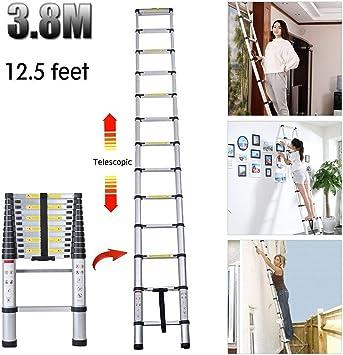 Escalera de extensión para desván de aluminio telescópico, portátil, plegable, extensible, 12 peldaños, estándar de seguridad CE y EN 131 (3,8 m): Amazon.es: Bricolaje y herramientas
