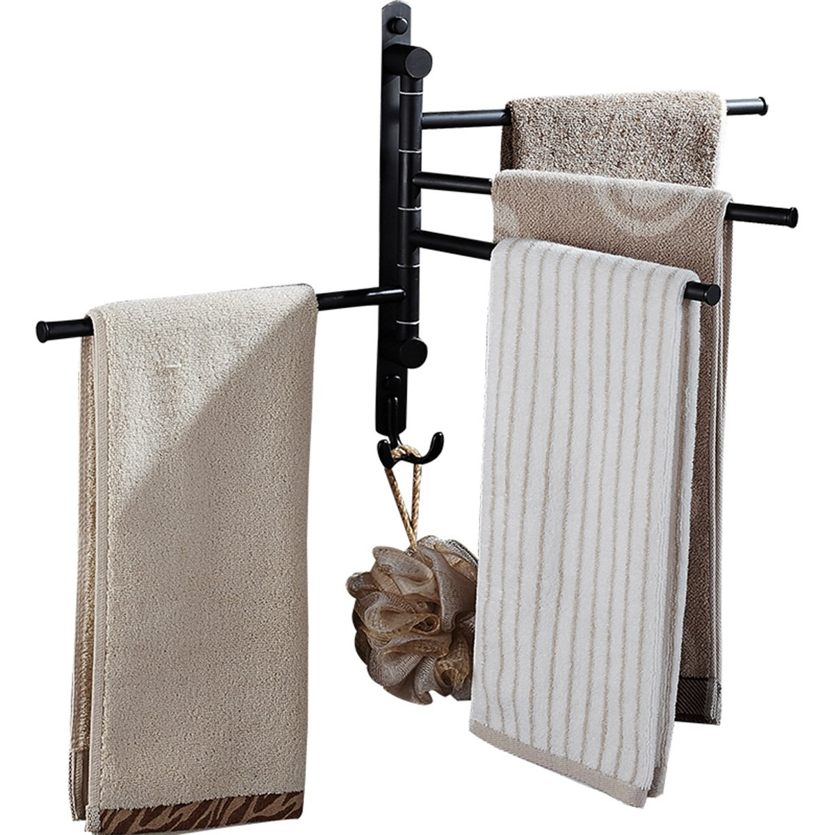 CBTONE Swing Out Towel Rack Wall Mounted Oil Rubbed Bronze Swivel Towel Bars for Bathroom with 4 Arms and 2 Hooks, Black by CBTONE