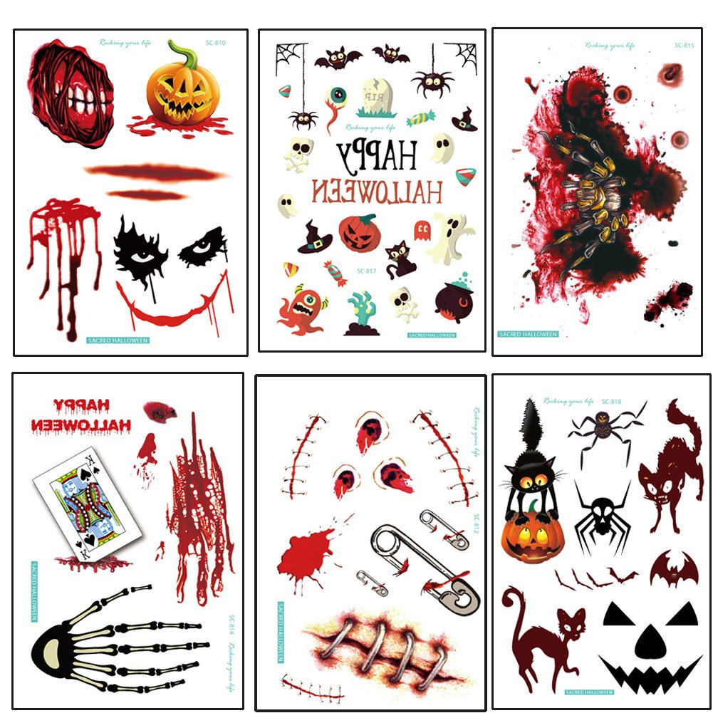 6 Sheets Halloween Temporary Tattoos,Party Cosplay Costume,Waterproof,Horrible Cute Tattoos For Women, Men, Kids, over 65 tattos
