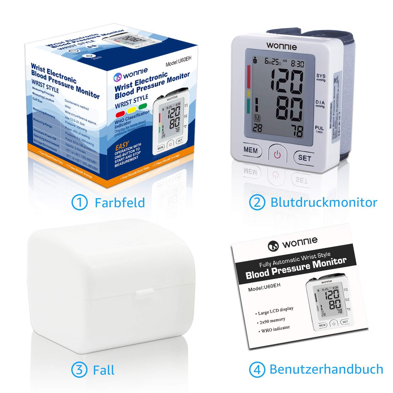 Handgelenk Blutdruckmessgerät, WONNIE hohe Messgenauigkeit vollautomatisches BP blutdruckmanschette Pulsmessung für zwei Benutzer (2x90 speicherbare) Heimgebrauch, FDA Zulassung Blood Pressure Monitor