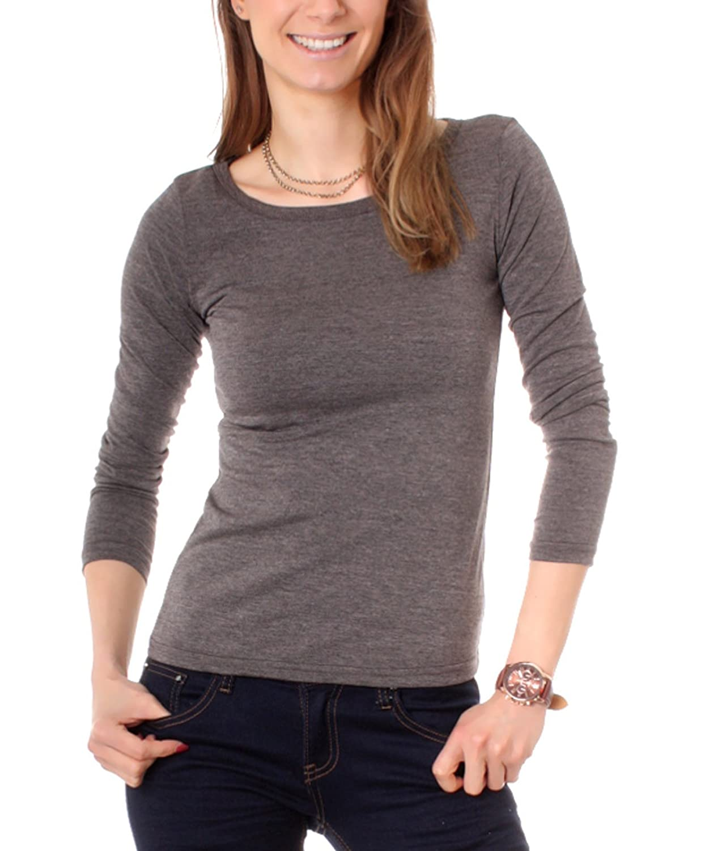Damen Basic Langarm Shirt mit Rundhalsausschnitt