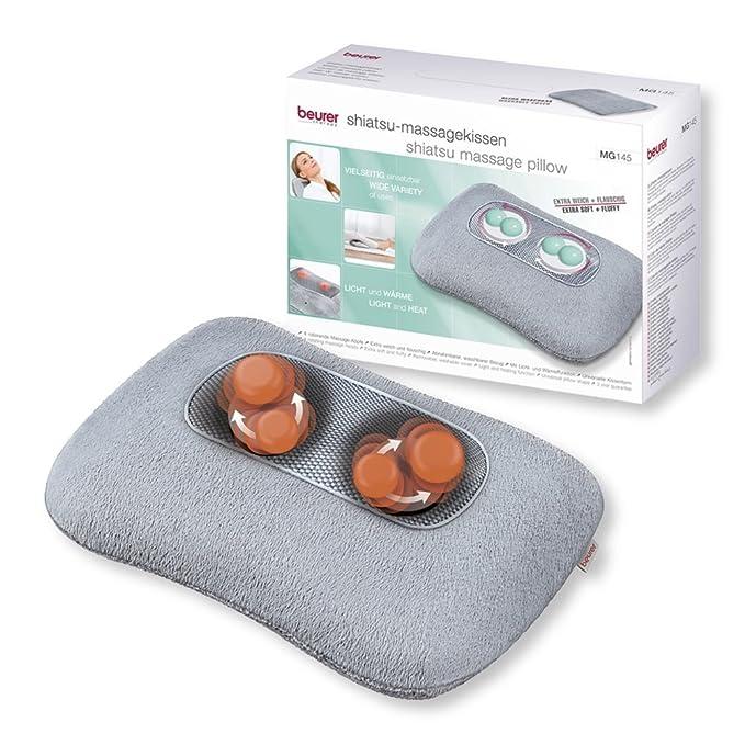 Beurer MG145 - Almohada de masaje Shiatsu con función color para relajar la musculatura, extra suave y confortable, 4 cabezales de masaje rotatorios, ...