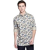 Dennis Lingo Men's Printed Brown Slim Fit Casual Shirt