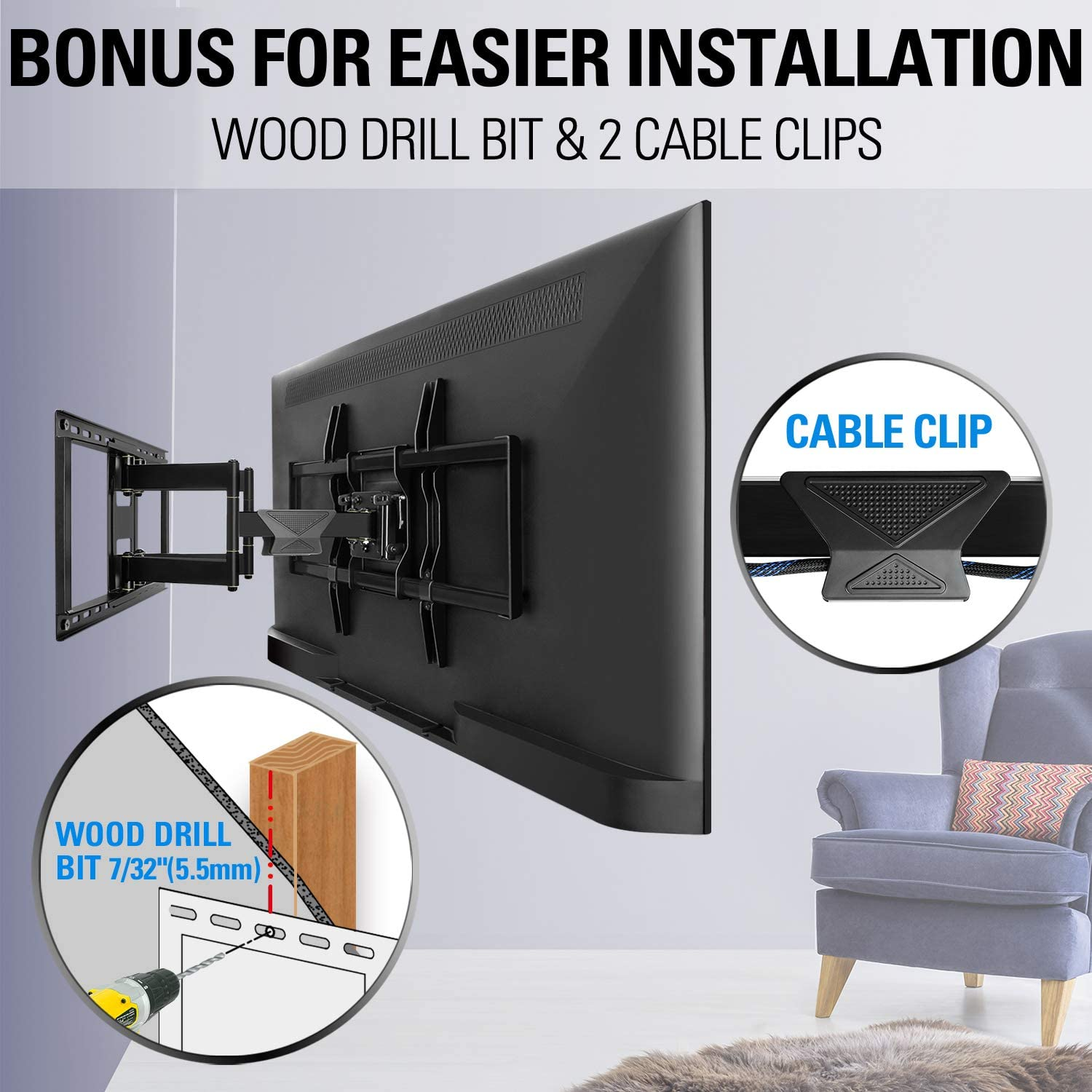 Mounting Dream TV Wall Mount TV Bracket for 42-84 Inch TVs, Universal Full Motion TV Mount with Articulating Arms, Max VESA 800x400mm 132 lbs. Loading, Easy to Install on 16