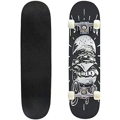 Classic Concave Skateboard Hand Drawn Burger vintageblack and White Grunge Retro Poster Suitable Longboard Maple Deck Extreme Sports and Outdoors Double Kick Trick for Beginners and Professionals : Sports & Outdoors