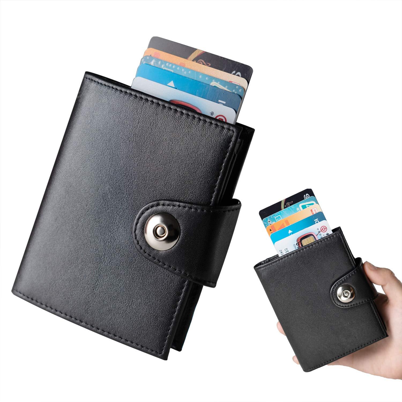 e01d869635 Portafoglio Uomo Vera Pelle RFID, Porta Carte Credito Portafogli Piccolo  Sottile Automatico Pop-up