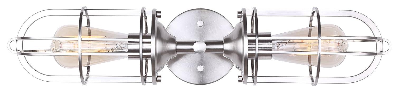 Canarm Indus 2ライト化粧台用ライト - ブラッシュドニッケル - 簡単な取り付け具付 B01NAZQH85 2 light|つや消しニッケル つや消しニッケル 2 light