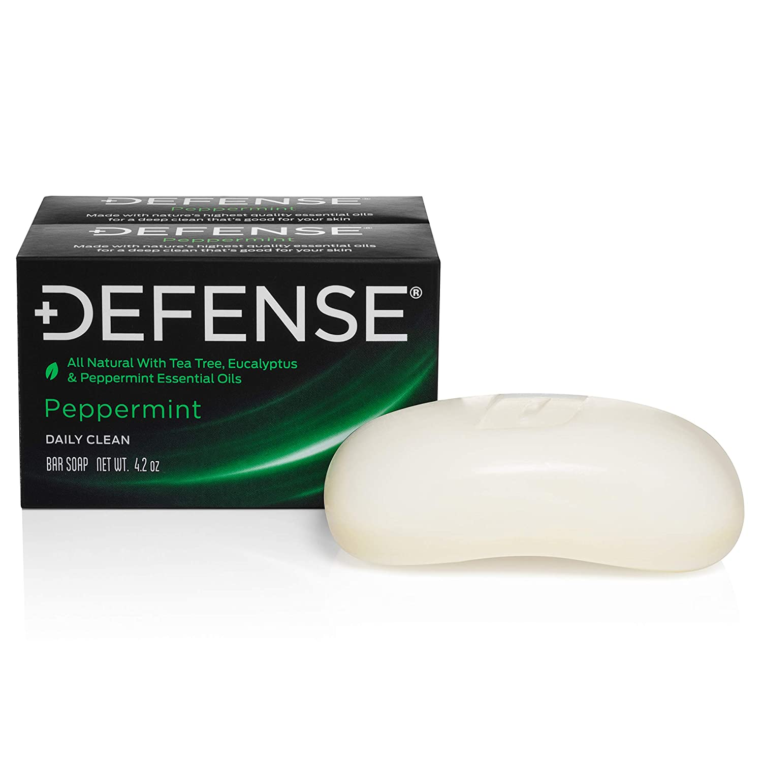Defense Soap, Peppermint, 4 Ounce Bar (Pack of 2) - 100% Natural and Herbal Pharmaceutical Grade Tea Tree Oil