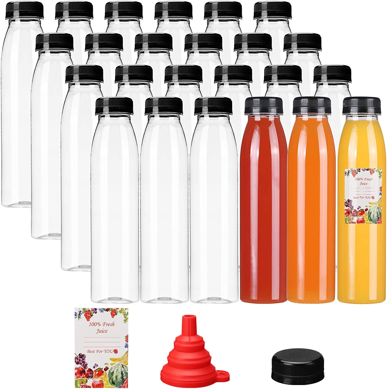 24pcs Empty PET Plastic Juice Bottles 12oz Cone Reusable Clear Disposable Containers with Black Tamper Evident Caps Lids for Juice, Milk and Other Beverages