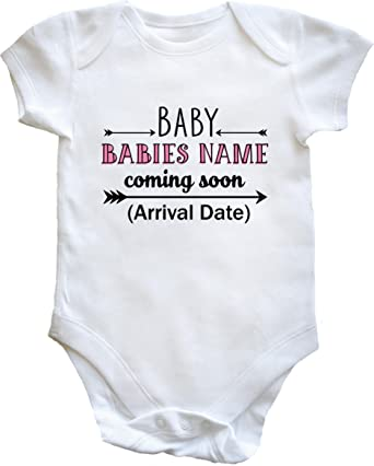 a8c8d81ca Hippowarehouse Personalised Baby (Your Name Here) Coming Soon (Your Arrival  Date Here)