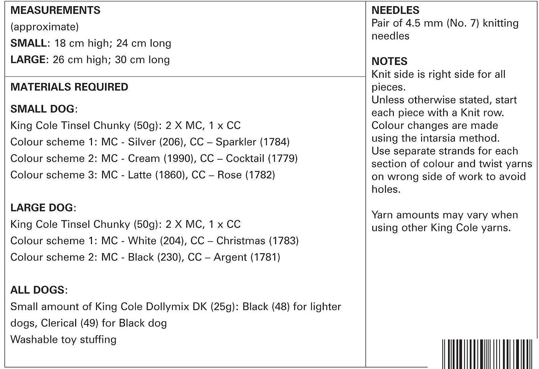 King Cole 9056 patrón para tejer perritos perro en Tinsel Chunky ...