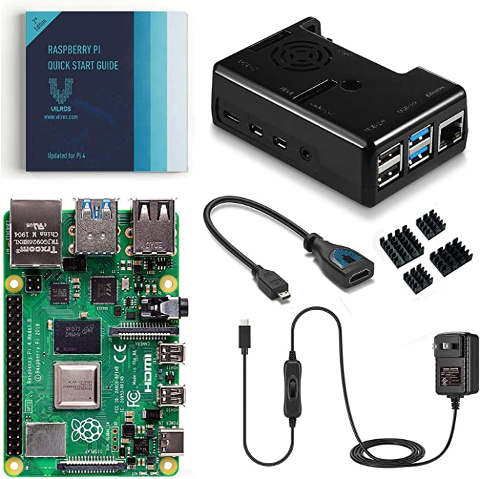 Vilros Raspberry Pi 4 Basic Kit with Black Fan Cooled Case (1GB)