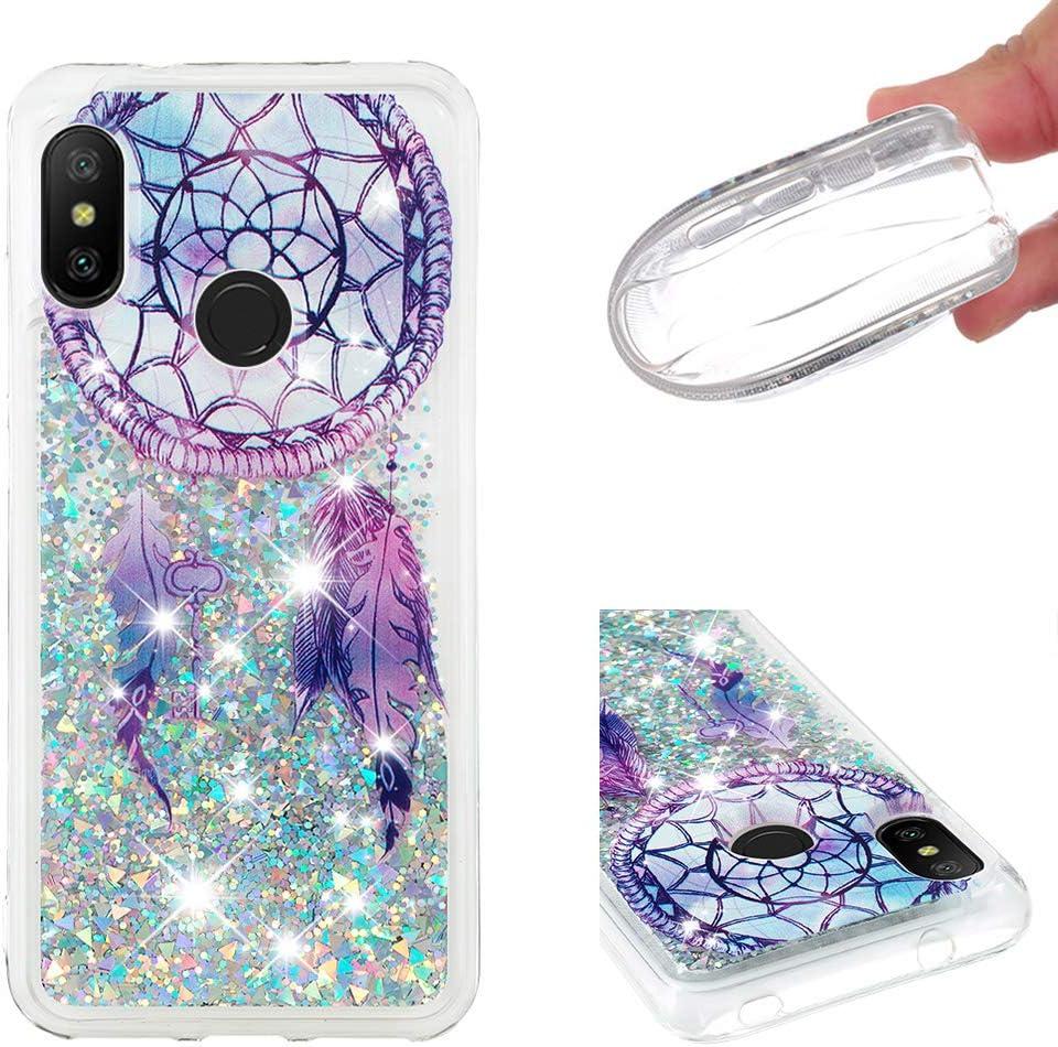 HopMore Glitter Funda para Xiaomi Mi A2 Lite Silicona 3D Liquido Brillante Purpurina Transparente Dibujos Carcasa TPU Resistente Ultrafina Case Antigolpes Caso Protección - Atrapasueños Azul