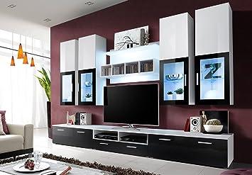 Meuble TV Design Laqué LONDON avec Eclairage LED: Amazon.fr: Cuisine ...