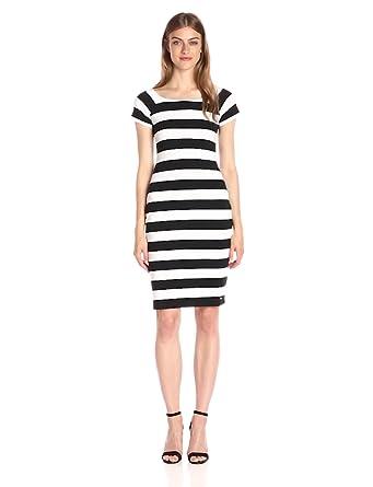 39de6bb5 A|X Armani Exchange Women's Scoop Neck Cap Sleeve Knee Length Body Con  Striped Dress