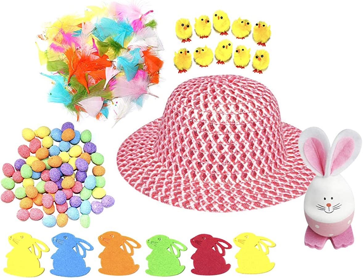 Children/'s Easter Bonnet Hat With Ribbon /& Flower School Parade One Size
