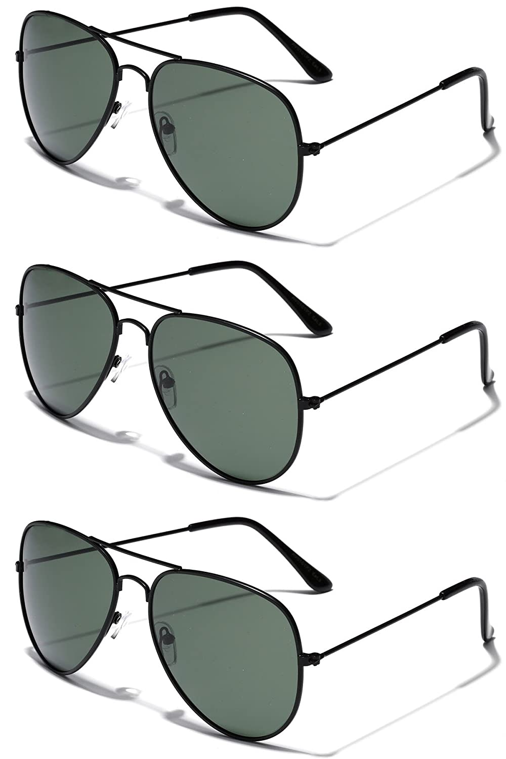 3 Pack Deal - Polarized Classic Full Rim Metal Aviator Sunglasses UV400