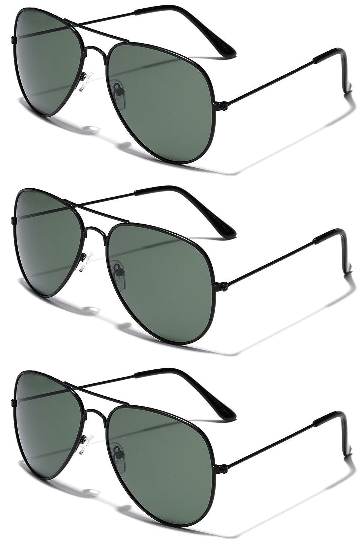 3 Pack Deal - Polarized Classic Full Rim Metal Aviator Sunglasses UV400