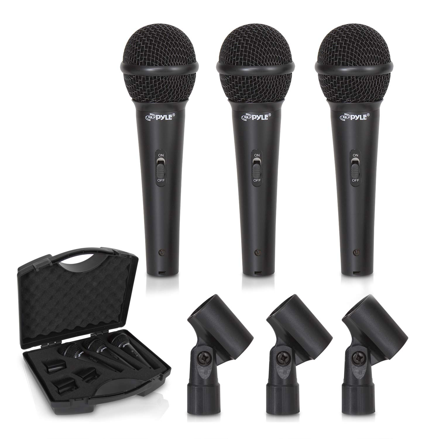 Pyle 3-Piece Professional Dynamic Kit-Cardioid Unidirectional Vocal Handheld Microphone with Hard Carry Case & Mic Holder/Clip, Wicked Purple (PDMICKT80.5) by Pyle