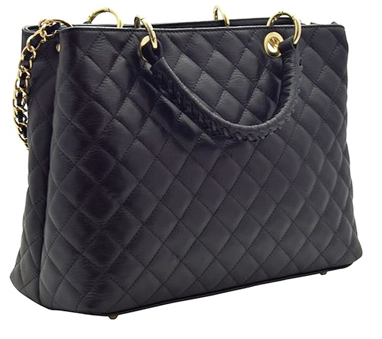 1f612a43f044aa Handbag Bliss Italian Leather Large Quilted Designer Inspired Classic  Handbag & Shoulder Bag (Black): Amazon.co.uk: Luggage