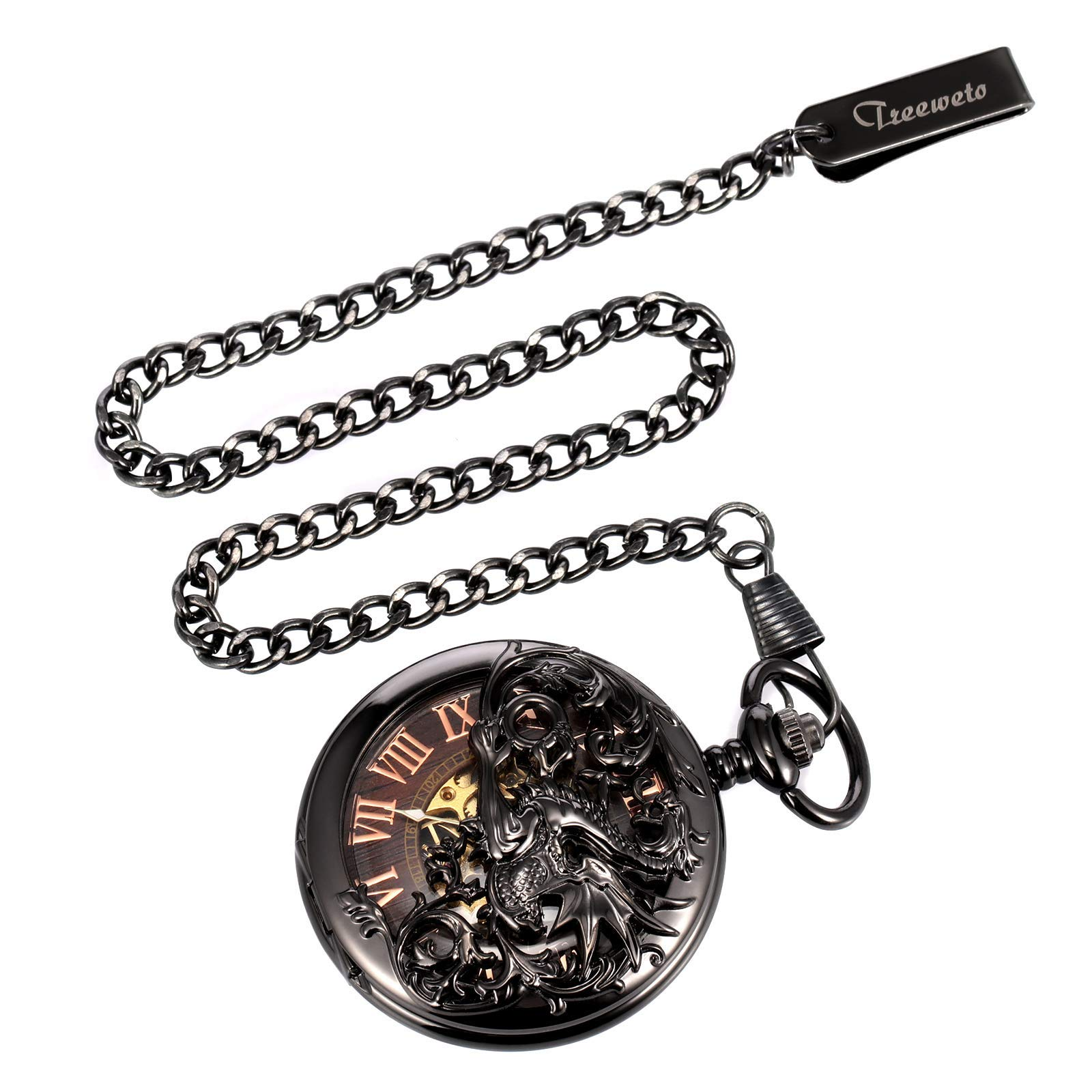 Treeweto Antique Dragon Mechanical Skeleton Pocket Watch with Chain by TREEWETO (Image #7)
