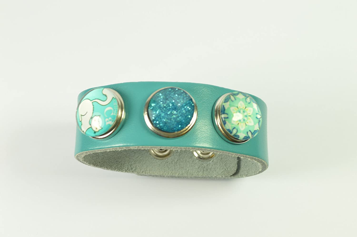 Noosa Style Turquoise Blue Leather Bracelet with 3 Beautiful Snap Buttons & Gift Box ~ No 1 Libby's Market Place