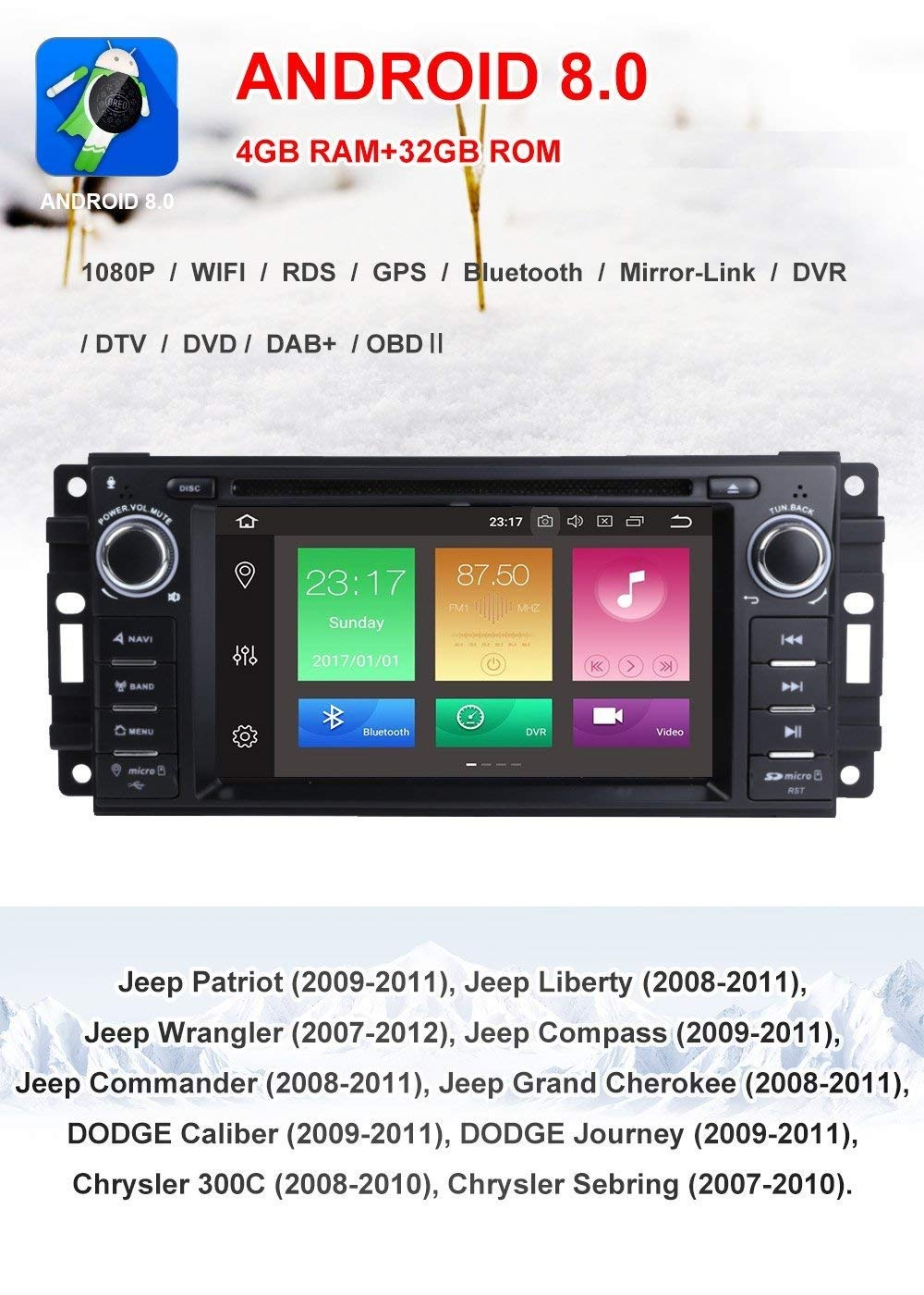 MCWAUTO for Dodge Ram Challenger Jeep Wrangler JK 6 2 Inch Android 8 0  Multi Touch Screen Car Stereo Radio DVD Player GPS Canbus Screen Mirroring