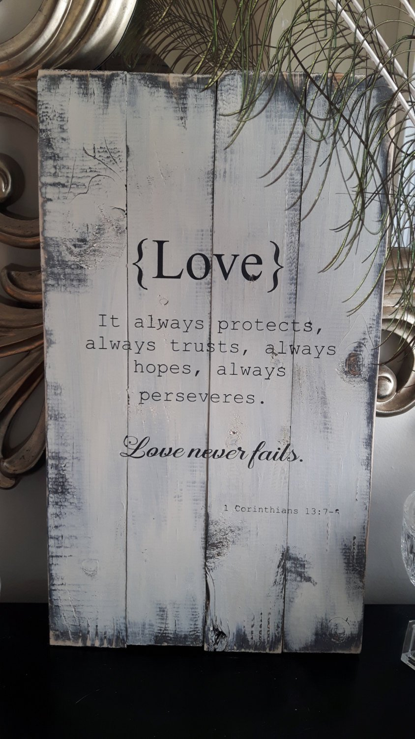 9b0f2ce221f3 Amazon.com  Wood Finds Love - Corinthians Scripture Rustic Wood Sign Hand  Painted Home Décor Signs   Plaques Wedding Gift  Handmade