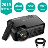 "Projector,2019 Newest ABOX A2 Native 720P Portable Home Theater LCD HD Video Projector with 3600 Lumen,180"" Large Screen and Dual HiFi Speakers,Support 1080p HDMI/VGA/AV Multiple Ports"