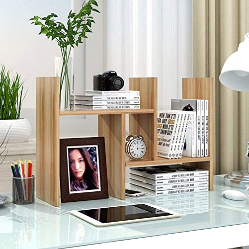 Garwarm Desktop Organizer,Office Storage Rack Adjustable Wood Display Shelf,Counter Top Bookcase,Walnut