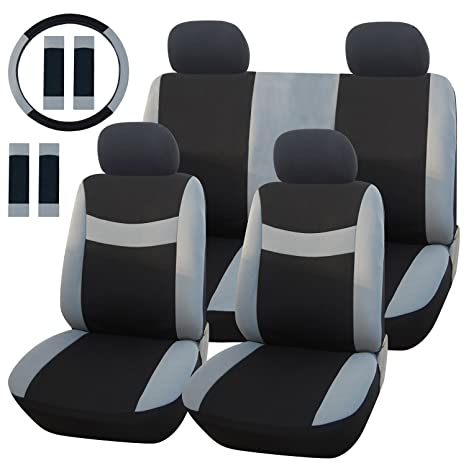 Admirable Adeco Cv0158 13 Piece Car Vehicle Protective Seat Covers Universal Fit Black With Gray Details Pabps2019 Chair Design Images Pabps2019Com