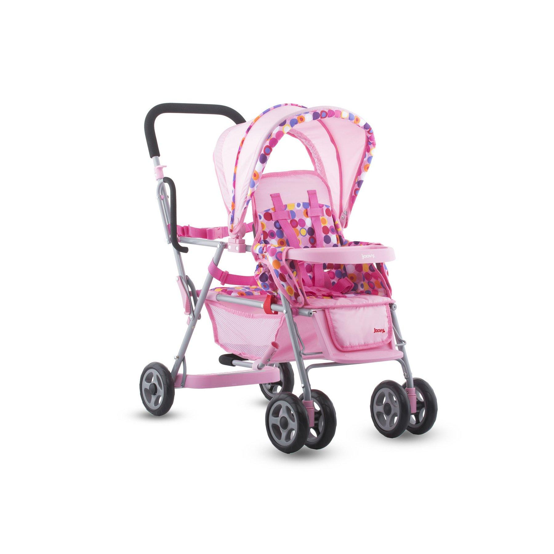 Joovy Toy Doll Caboose Tandem Stroller - Pink Dot