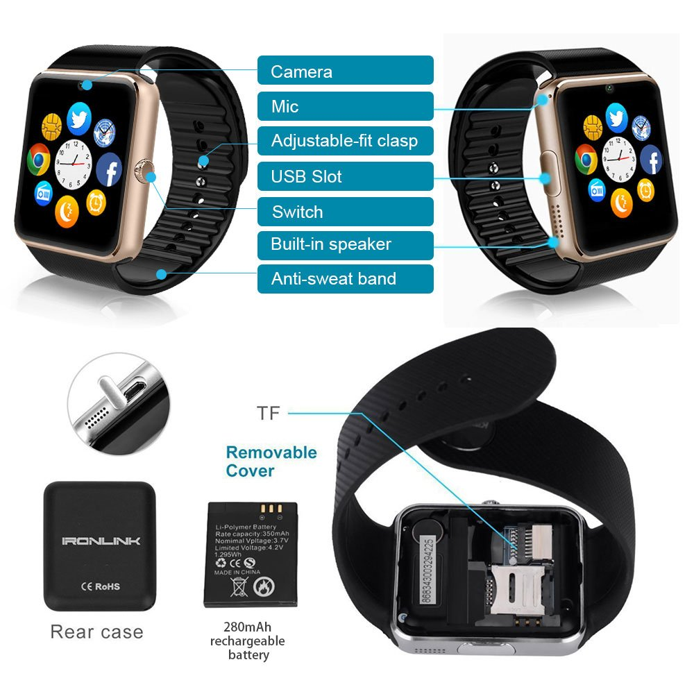 Reloj Inteligente, GT08 Pulsera con Pantalla Táctil Bluetooth con ...