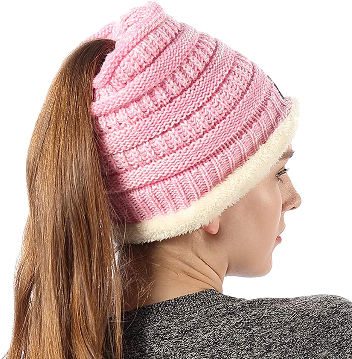 18 Colors Womens Ponytail Beanie Hats Warm Fuzzy Lined Soft Stretch Cable Knit Messy High Bun Cap