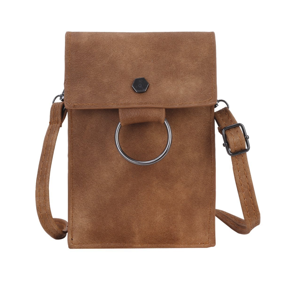 Bthdhk 6'' Stylish PU Leather Small Crossbody Shoulder Bag with Strap for Women Smartphone - Brown