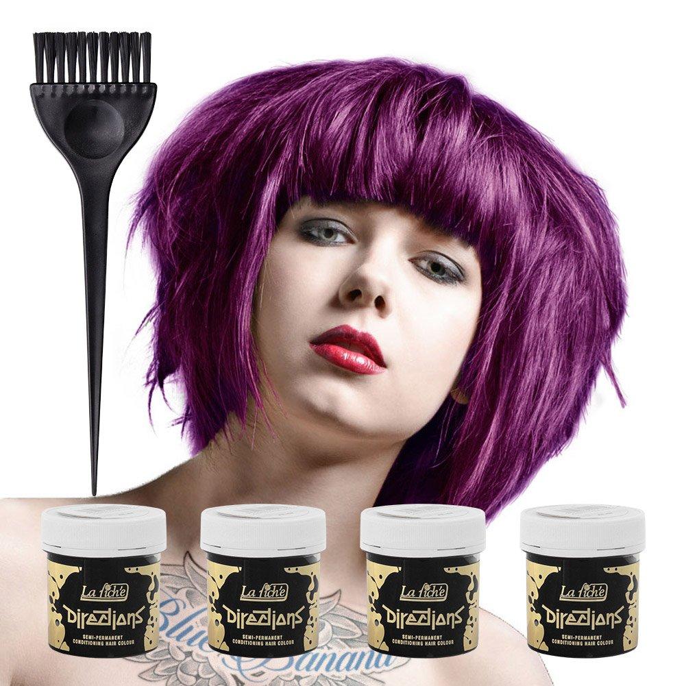 La Riche Directions Semi Permanent Plum Hair Colour Dye x 4