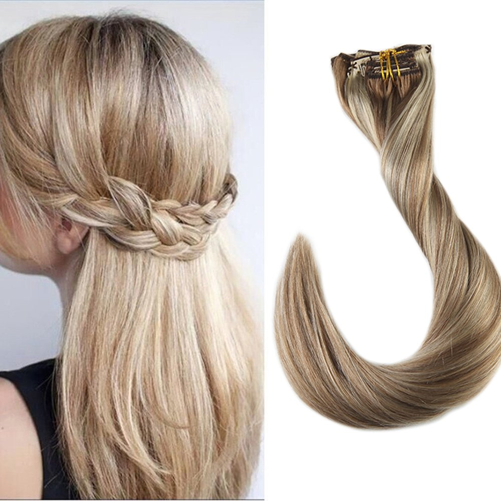 Full Shine 16 Inch Highlighted Clip Human Hair Extensions Color #10 and #613 Blonde Highlighted Hair Extensions Human Hair Clip in Straight Remy Human Hair Extensions 120 Gram 9 Pcs by Full Shine