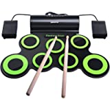 Electronic Drum Set, BONROB Drum Pad Foldable Roll Up Drum Kit Compatible with Roland Games Built in Speaker With Drum…