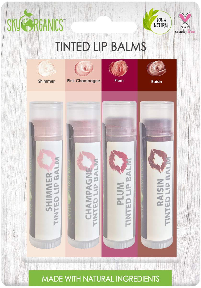 Organic Tinted Lip Balm by Sky Organics - 4 Pack Assorted Colors -- with Beeswax, Coconut Oil, Cocoa Butter, Vitamin E- Minty Lip Plumper for Dry, Chapped Lips- Tinted Lip Moisturizer. Made in USA by Sky Organics