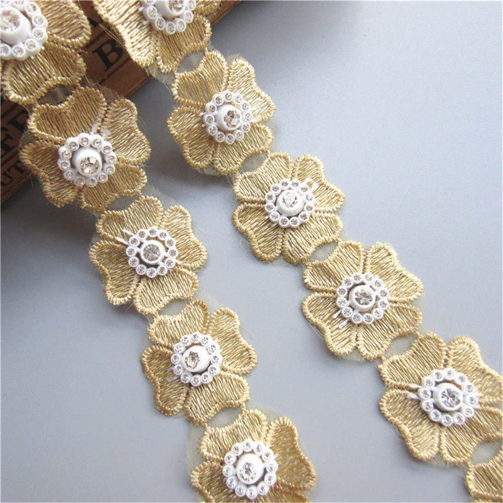 2 Yard Polyester Diamond Rhinestone Floral Lace Edge Ribbon 3cm Width Vintage Style Yellow Trimmings Fabric Embroidered Applique Sewing Craft Wedding Bridal Dress Embellishment Party Clothes Hat DIY
