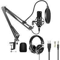 Neewer Kit Micrófono USB 192KHz / 24Bit Micrófono Condensador Cardioide Conecta y Reproduce con Auriculares con Monitor…
