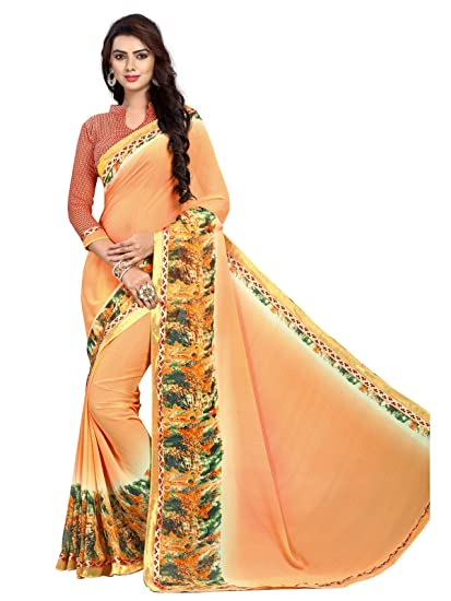 b32c858ee6 FabFactory Peach Poonam Chiffon Weightless Saree with Blouse Piece ...