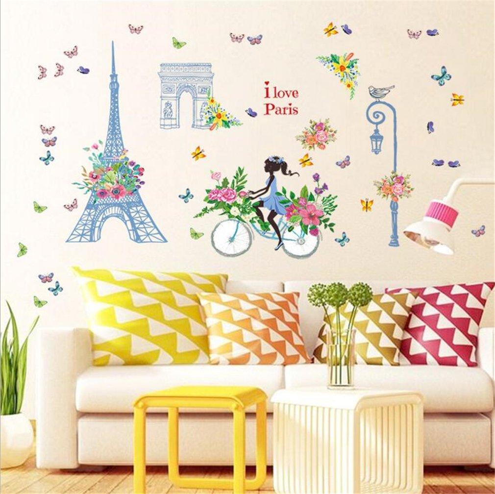 Amazon.com: Paris Eiffel Tower Triumphal Arch Fairy Wall Stickers ...