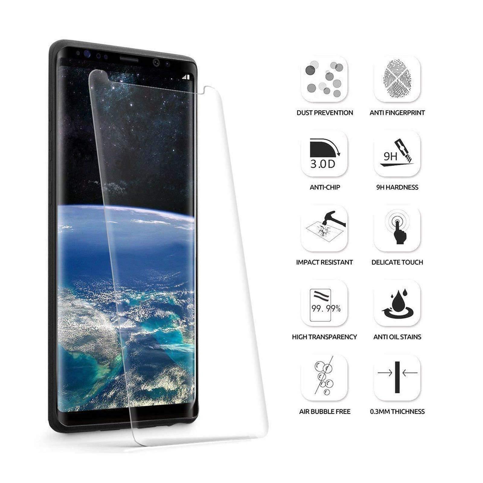 LINCIVIUS  Ecran Verre Trempé Samsung Galaxy Note 9, Vitre Protection Ecran Rigide intégral Bord à Bord, [Compatible avec Une Coque] - Transparent