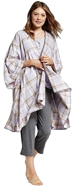 8dcb1886fc Gilligan and O Malley Women s Flannel Wrap Pajama (Purple Plaid) at ...