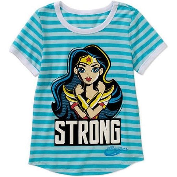588005328 Wonder Woman Girls' Strong Short Sleeve Scoop Neck Graphic T-Shirt (S (