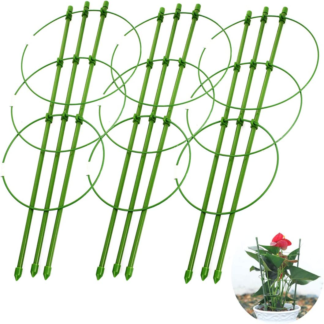 "IronBuddy Vine Trellis Support Flowers Plants Cage Triple Vine Plants Holder Stand Small Pot Plant Trellis for Home Garden Balcony (17.7"", Pack of 3)"